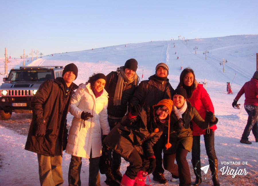 Serra da Estrela Portugal - Galera do intercambio na estacao de ski