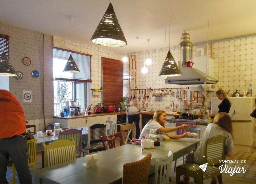 Hostel em Sao Petersburgo - Cozinha do albergue
